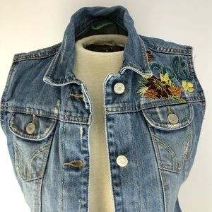 Hollister Co denim embroidered/distressed vest Med